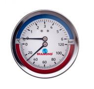 Термоманометр осевой 0-120°С 0-6 бар Диамонд